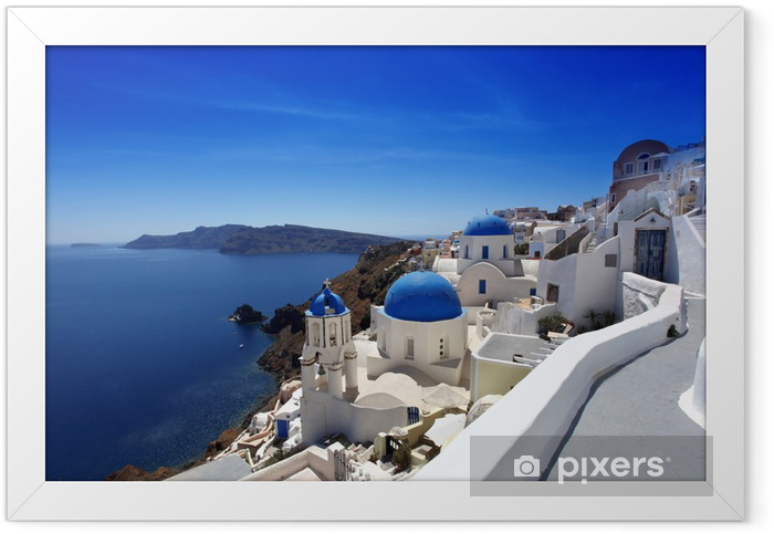Santorini with Traditional Churches in Oia, Greece Framed Poster - Themes