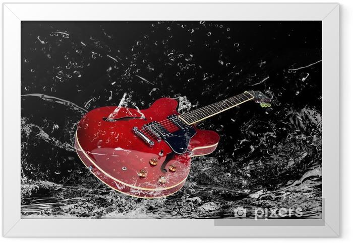 E-Gitarre mit Wasserspritzern Framed Poster - Themes
