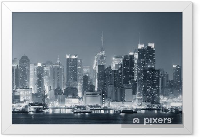 Plakat w ramie New York City Manhattan w czerni i bieli - Tematy