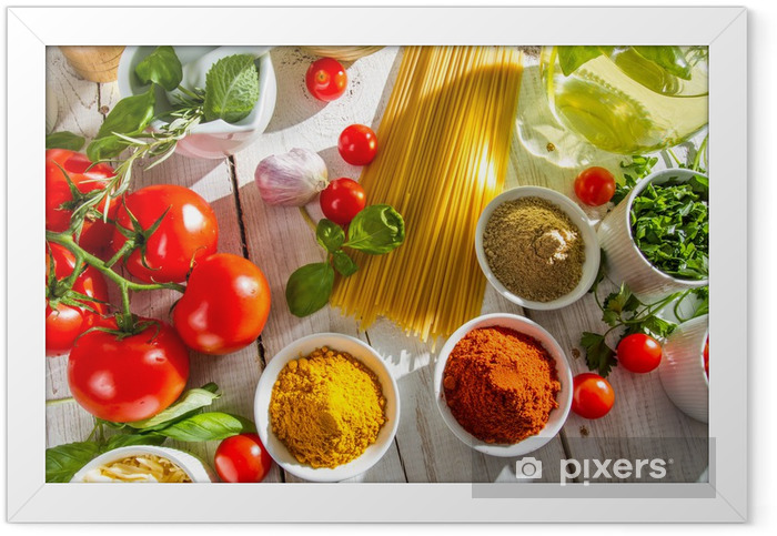 Fresh vegetables and spices in Italian cuisine Framed Poster - Themes