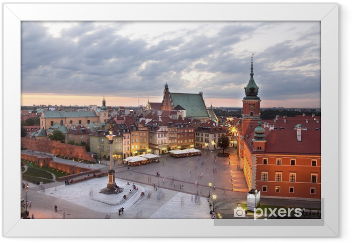 Royal Castle Square in Warsaw old town, at dusk. Poland Framed Poster - Themes