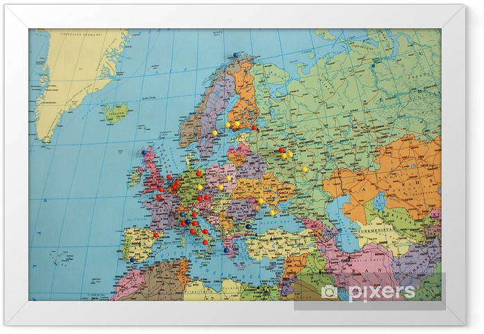 Plakat w ramie Mapa Europy z pinami podróży - Tematy