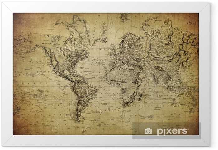 vintage map of the world 1814.. Framed Poster - Themes