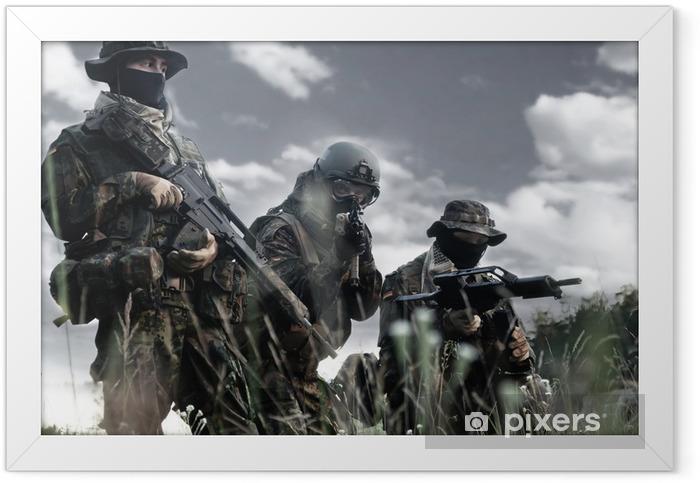 Plakat w ramie Żołnierze Bundeswehry w pełnym rynsztunku - Militaria