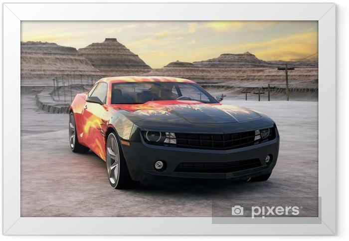 Plakat w ramie Samochód sportowy w pustyni sceny 3d sunrise - Przeznaczenia