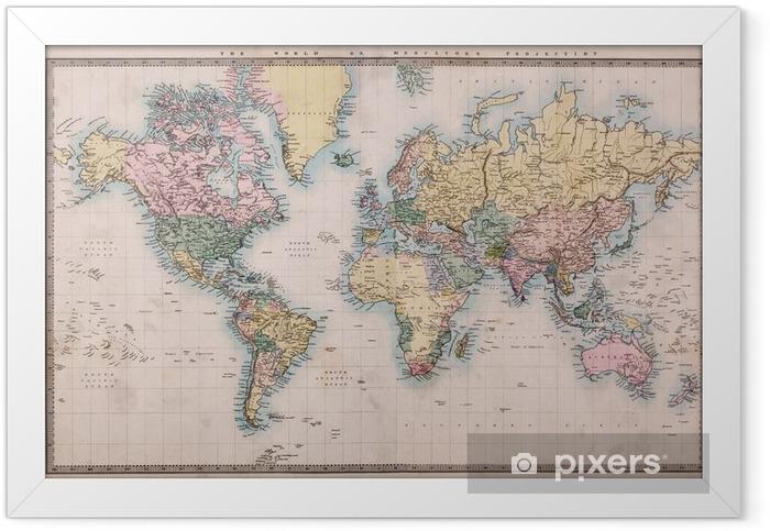 Plakat w ramie Stara mapa świata na antyczne projekcji mercators -
