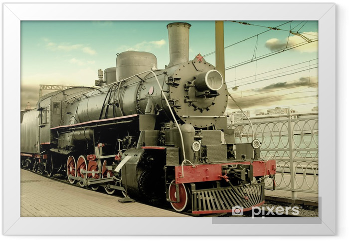 Old steam locomotive at station Framed Poster - Styles