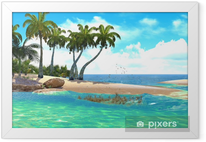 Tropical paradise beach Framed Poster - North America