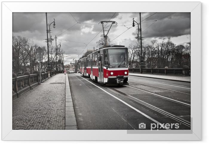 tram in the city of Prague Framed Poster - Prague