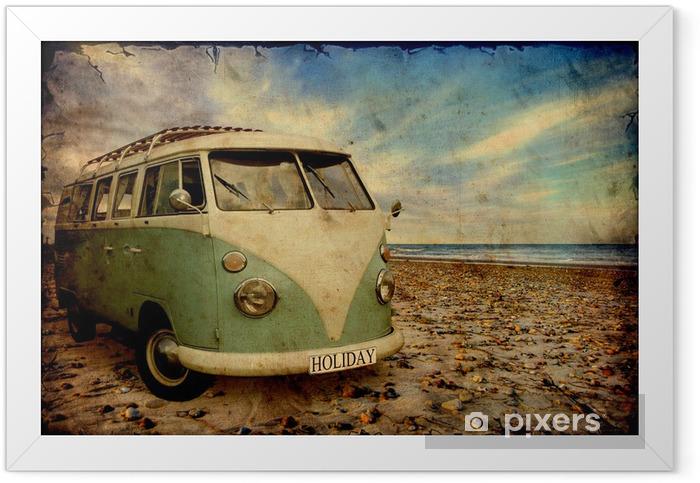 Retroplakat - Bulli am Strand Framed Poster - Styles