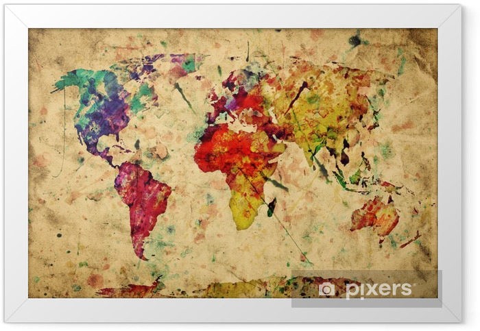 Vintage world map. Colorful paint, watercolor on grunge paper Framed Poster -