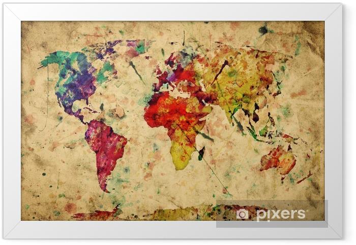 Plakat w ramie Mapa świata archiwalne. kolorowe farby, akwarela na papierze grunge -