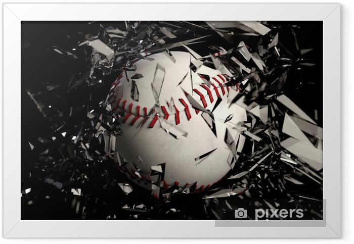 baseball breaking glass against a black background. Framed Poster - Sports Items
