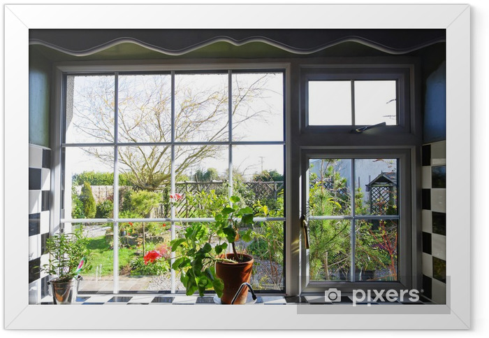 Kitchen window with the view on garden Framed Poster - Destinations