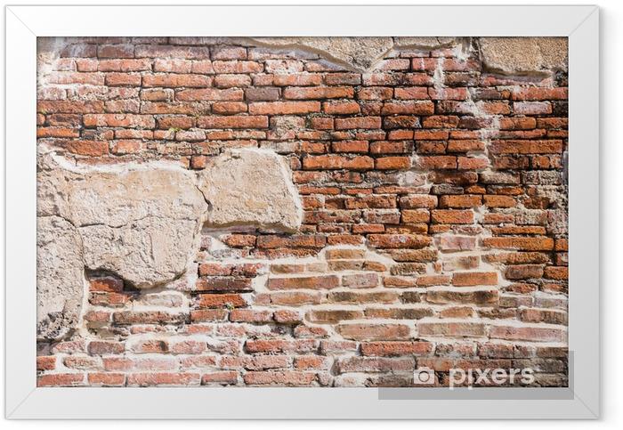 Ingelijste Poster Oude bakstenen muur fragment - Thema's