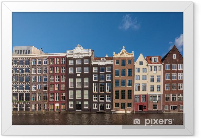 Plakat w ramie Starożytne domy kanału w holenderskiej stolicy Amsterdamie - Europa
