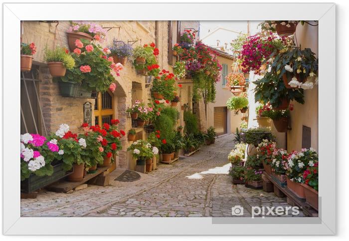 Plakat w ramie Uliczka z kwiatami, Spello -