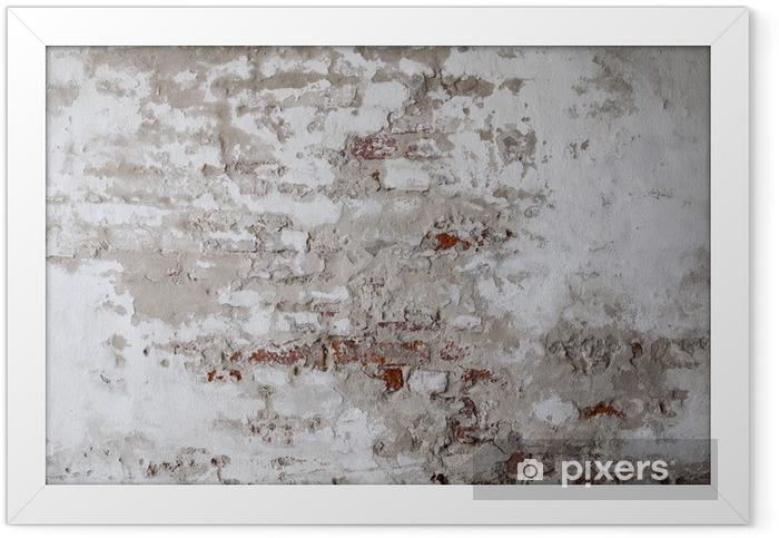 Plakat w ramie Old Red Brick Wall z betonie - Tematy