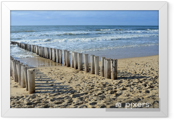 breakwaters on the beach at the north sea in Domburg Holland Framed Poster - Themes