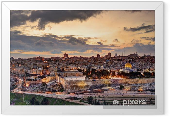 Plakat w ramie Jerozolima starego miasta skyline - iStaging