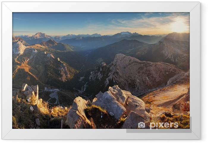 Mountain sunset panorama landscape - in Italy Alps - Dolomites Framed Poster - Themes