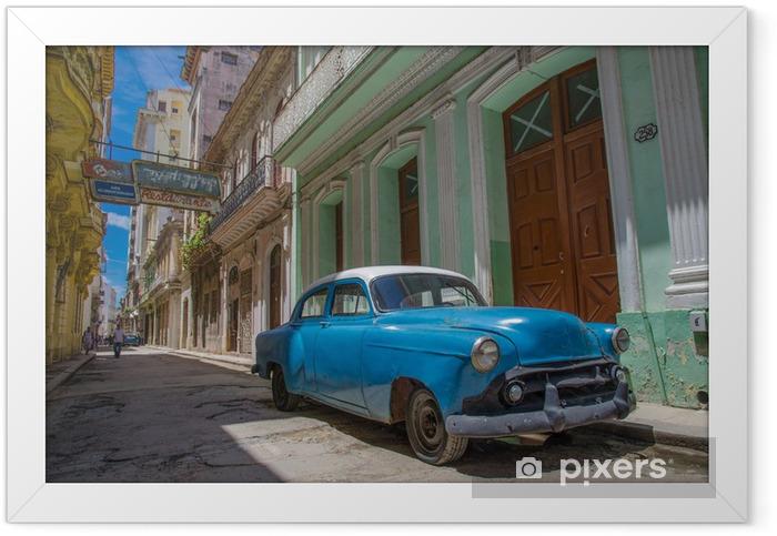 Plakat w ramie Kuba niebieski samochód - Kuba