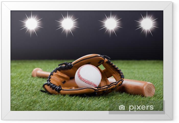 Plakat w ramie Rękawica Baseball w baseball i bat - Artykuły sportowe