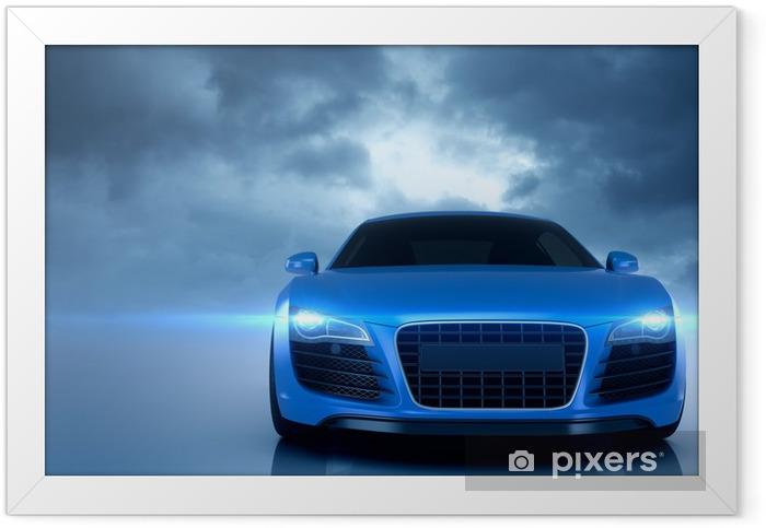 Plakat w ramie Sport samochodowy niebieski -