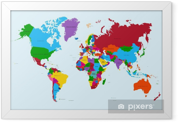 World map, colorful countries atlas EPS10 vector file. Framed Poster - Themes