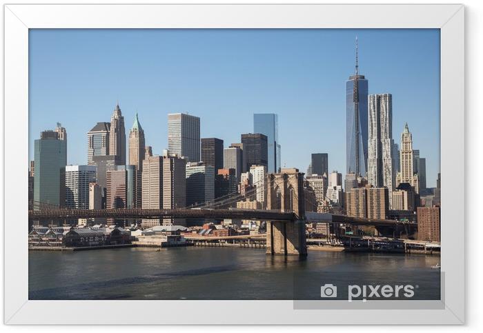 New York City Brooklyn Bridge downtown skyline Framed Poster - New York