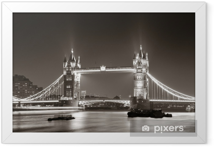 Tower Bridge at night in black and white Framed Poster -