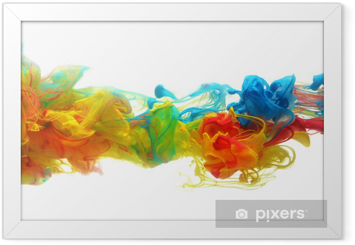 Colorful ink in water Framed Poster - Wall decals