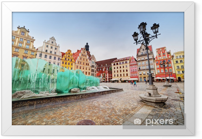 Poster en cadre Wroclaw, en Pologne. La place du marché avec la célèbre fontaine - Thèmes