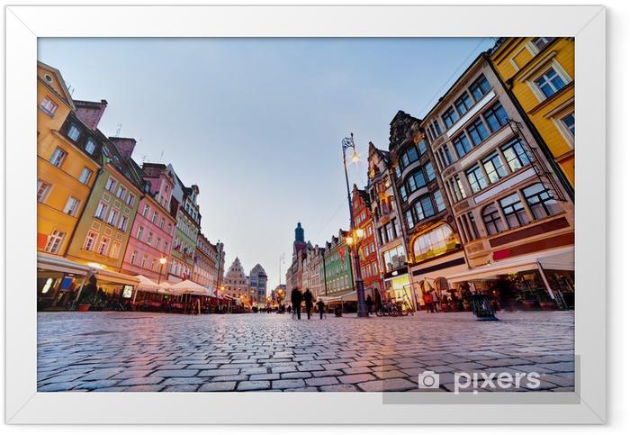 Poster en cadre Wroclaw, en Pologne. La place du marché lors de la soirée - Thèmes