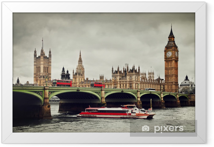 London, the UK. Big Ben, the River Thames, red buses and boat Framed Poster - Themes