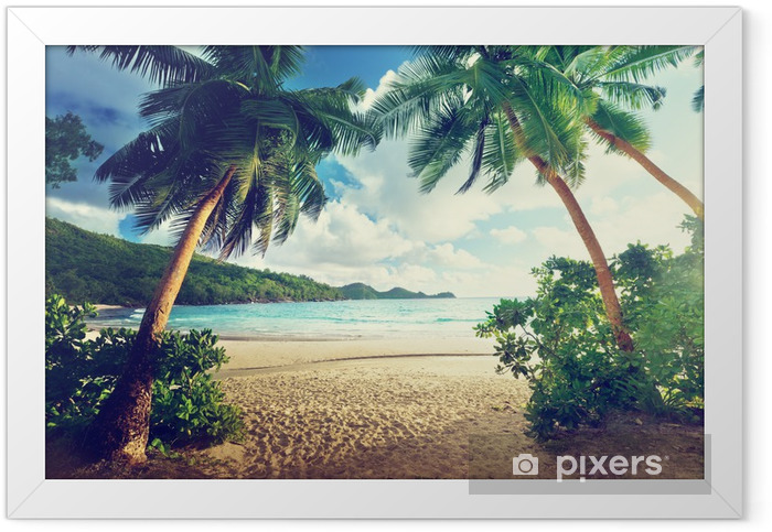 sunset on beach, Mahe island, Seychelles Framed Poster - Themes