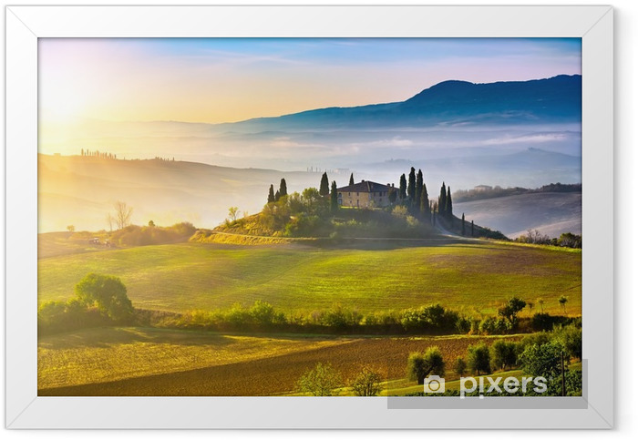 Tuscany at sunrise Framed Poster - Themes