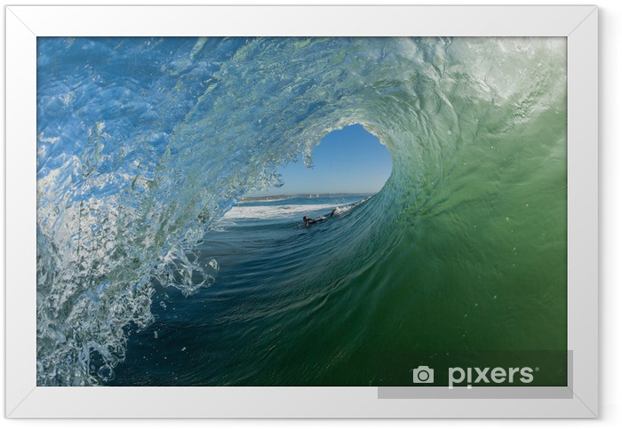 Wave Hollow Tube Ride Surfer Angle Framed Poster -
