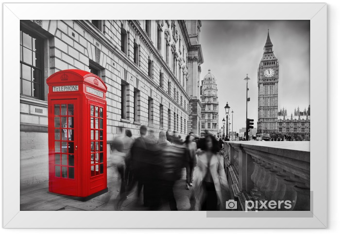 Red telephone booth and Big Ben in London, England, the UK. Framed Poster - Styles