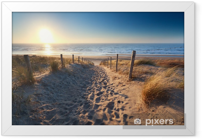 path to sand beach in North sea Framed Poster - Themes