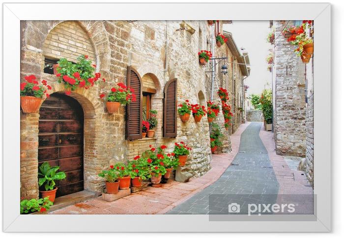 Ingelijste Poster Schilderachtige laan met bloemen in een Italiaanse heuvel stad - Thema's