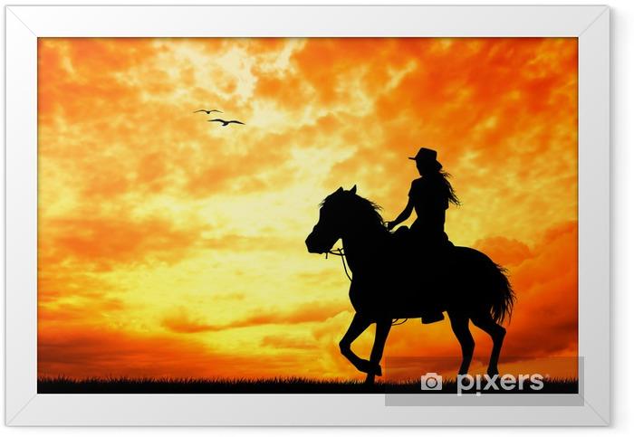 girl on horseback Framed Poster - Mammals