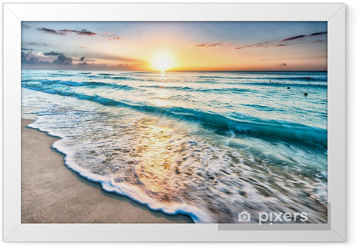 Plakat w ramie Wschód słońca na plaży w Cancun - Plaża i tropiki