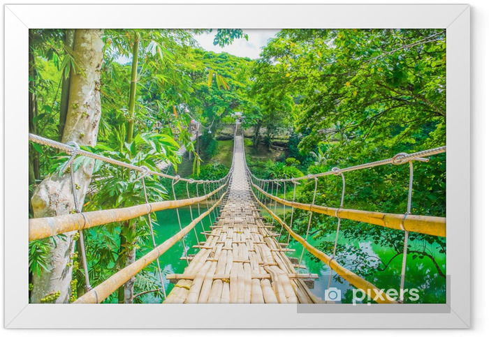 Poster en cadre Bamboo pont suspendu pour piétons sur la rivière - Thèmes
