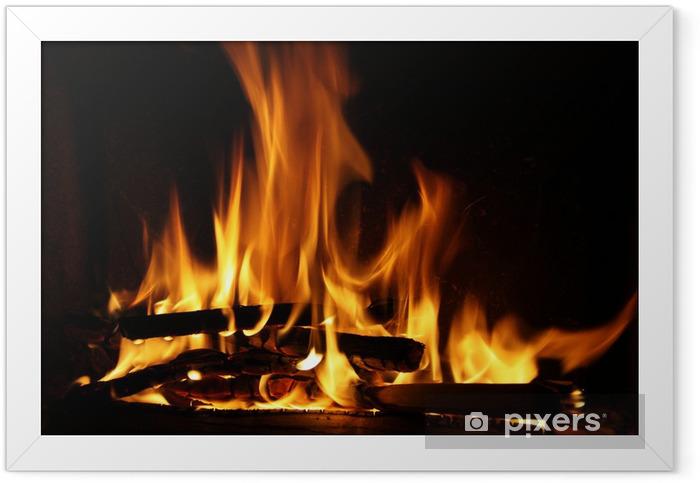 Poster en cadre Incendie dans un foyer. Feu de flammes sur un fond noir - Thèmes