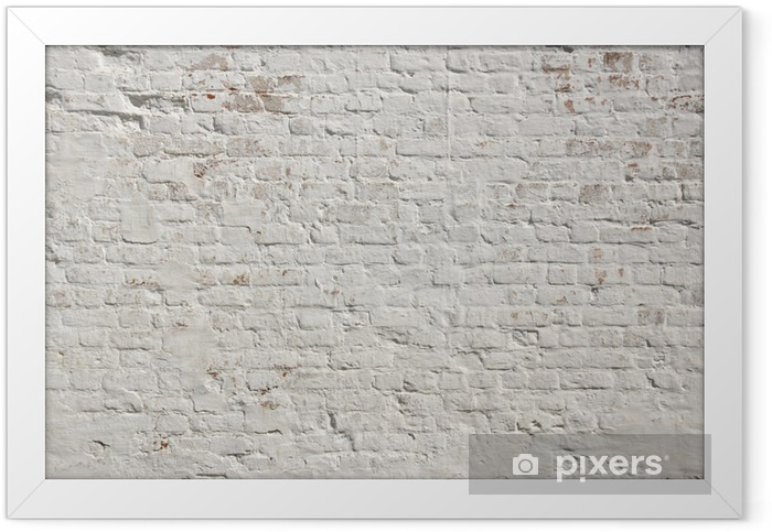 White grunge brick wall background Framed Poster - Styles