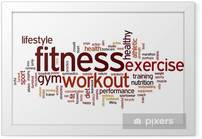 Fitness word cloud Framed Poster -