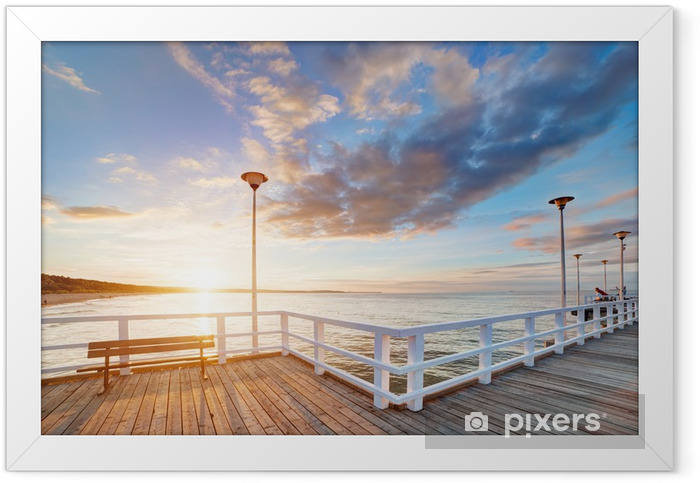 Beautiful retro pier at sunset. Gdansk Brzezno, Poland Framed Poster - Themes