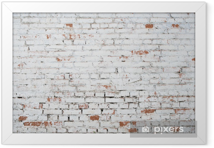 Cracked white grunge brick wall textured background stained old Framed Poster - Themes