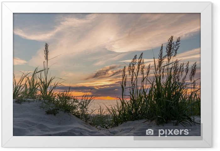 Sunset at the beach of Darß at the Baltic Sea, Mecklenburg-West Framed Poster - iStaging